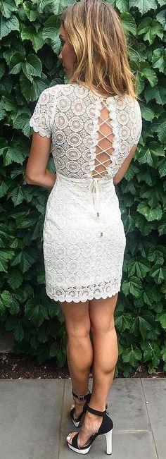 Lace Up White Lace Dress                                                                             Source