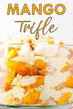 Mango trifle made from angel food cake, white chocolate whipped cream, and macadamia nuts. #trifle #mango #mangotrifle #summerdessert #angelfoodcake