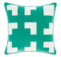 The Deco City Living green meta quilt cover set features fully reversible to inverse palette.