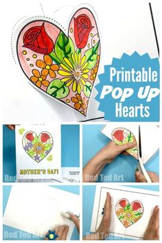 Pop Up Heart Printables for Mother's Day How lovely are these Flower Heart Cards? Just print, colour, snip and and assemble. Paper Crafts For Kids, Easy Crafts For Kids, Art For Kids, Mother Day Message, Origami, Kids Pop, Printable Crafts, Mothers Day Cards Printable, Free Printables