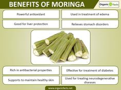 Health benefits of moringa include relief from stomach disorders, allergies and edema. The antioxidant power of moringa aids in liver protection, diabetes, eye protection, cardiovascular health, bone health, uroliathiasis, wound healing, healthy hair and skin. Moringa is rich in phytonutrients which are effective in various medical conditions such as cancer, neurodegenerative diseases, bronchial asthma, sickle cell disease, nephrotoxicity, high levels of cholesterol, blood pressure, anemia…