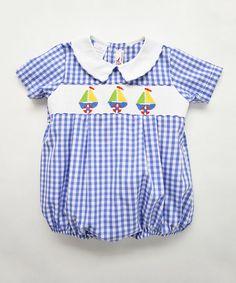 Look at this #zulilyfind! Blue Sailboat Smocked Bubble Bodysuit - Infant #zulilyfinds