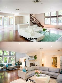 Staging before and after pictures of living room.  Home is located at 3025 Blaine Street in Coconut Grove.  Read more about Coconut Grove homes at http://therealestatecoconut.com.  #coconutgrove