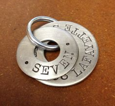 Hand Stamped Dog Tags - Double Tag - Made to Order - 10% donated to ASPCA - Brushed Stainless Steel Flat