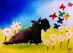 Собачье Искусство, Акварельные Картины, Лось, Шотландские Терьеры, Иллюстрации, Котята, Live