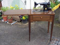 Singer Sewing Machine In Cabinet Table, Electric, Vintage Laptop Table, C.  1950