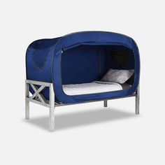 Privacy Pop have come up with The Bed Tent, which offers a secluded and private place to get better sleep at night or during nap time. Floor Bed Frame, Unique Duvet Covers, Futon Bed, Girl Bedroom Designs, Bedroom Ideas, Bed Tent, Bed Springs, Shelves In Bedroom, Types Of Beds