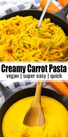Creamy Carrot Pasta - The Best Dinner Recipes Easy Vegan Dinner, Vegan Dinner Recipes, Vegan Dinners, Quick Easy Meals, Healthy Dinner Recipes, Vegetarian Recipes, Vegetarian Dinner For One, Diet Recipes, Vegetarian Sandwiches