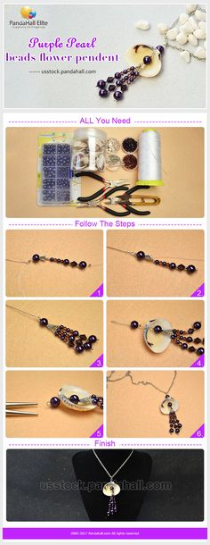 Purple pearl and shell necklace DIY with Pandahall Elite beads