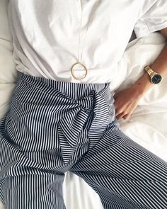 Striped tied trousers - so chic and ideal for workwear. Pair with a crisp white shirt and you've nailed it.