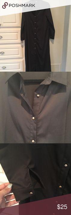 Long, shirt dress Never worn.  Gold buttons. Dresses Long Sleeve