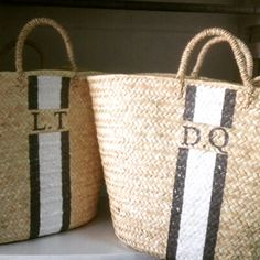 Grey and White monogrammed basket @raefeather.com