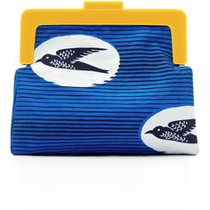 Scenery Label - Birds Clutch Bag ($100) ❤ liked on Polyvore featuring bags, handbags, clutches, blue handbags, magnetic purse, clasp purse, blue purse and coin purse