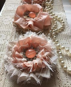 Shabby Chic Fabric Flower/Wedding decor/ wedding flower/Vintage Flower/ Bridal Hairpiece/ Girls Headband flower/Baby Headband flowers by ShabbyChicLoft on Etsy