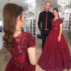 Fashion Luxury Palace Lace Appliqued Ball Gown Long Prom Dress The Banquet Party Evening Gown