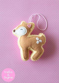 PDF - patron de petit cerf, modèle d'ornement Kawaii feutre, feutre Softie patron de couture, motif cerf en feutrine