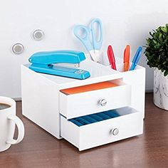 Amazon.com : mDesign Office Supplies Desk Organizer for Pens, Pencils, Markers, Highlighters, Tape - 3 Drawer, White : Home & Kitchen