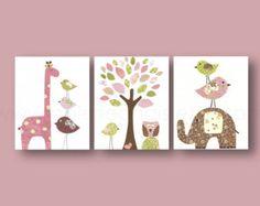 Gray and Pink nursery giraffe elephant Birds Owl by GalerieAnais