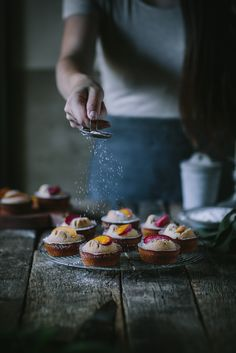 Adventures in Cooking. Pluot Financiers by Eva Kosmas Flores Dark Food Photography, Cooking Photography, Financier Recipe, Fun Desserts, Dessert Recipes, Cupcake Recipes, Breakfast Recipes, Dinner Recipes, Cupcakes