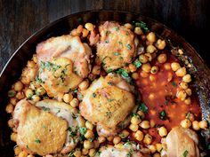 Pan-Roasted Chicken with Harissa Chickpeas Recipe | Epicurious.com