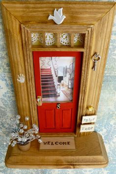Fairy Door - Apple Red Door w/Wood Stained Trim - Foyer w/Red Stairs & Pet Goat on Etsy, $38.00