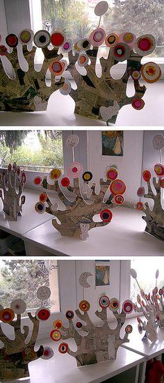 arbres kandinski découpage : collage : graphisme