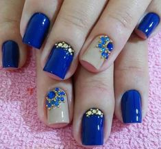 Blue Nail Art Ideas for 2018 – Top 150 Designs Best Nail Art Designs, Acrylic Nail Designs, Acrylic Nails, Fancy Nails, Cute Nails, Pretty Nails, Rhinestone Nails, Bling Nails, Fabulous Nails