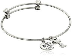 Peanuts Stainless Steel Snoopy Charm Bangle Bracelet 7.25 by Peanuts -- Awesome products selected by Anna Churchill