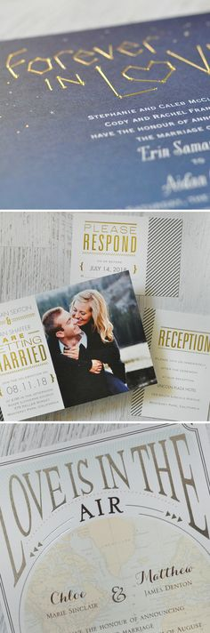 Learn more about the beauty of foil wedding invitations. Gold or Silver foil can take an ordinary invitation and make it keep-worthy! From Invitations by Dawn.