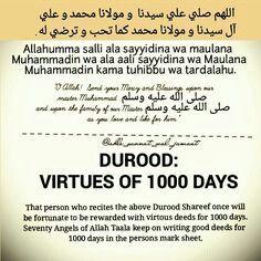 Durood vurtue/sawaab of 1000 days Duaa Islam, Islam Hadith, Islam Quran, Alhamdulillah, Prayer Verses, Quran Verses, Quran Quotes, Hadith Quotes, Islamic Love Quotes