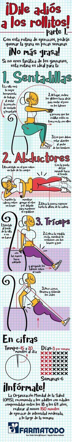 Ejercicios para eliminar la grasa localizada en mujeres. #infografias #deporte