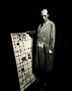 Piet Mondrian in his studio, with 'Broadway Boogie Woogie', 1940s
