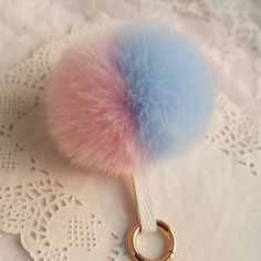 Dual Color Fluffy Fur Key Chain. Super Hot Item!