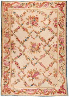 "Antique Aubusson rug 7' 00"" x 9' 10"" made in France. At Mansour."