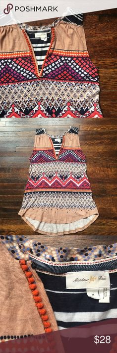 Anthropologie Meadow Rue colorful tank top Anthropologie Meadow Rue tank. SiZe medium. Multi patterned with orange Pom Pom trim. Great condition Anthropologie Tops Tank Tops