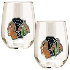 Great American Products Officially Licensed NHL 2-piece Stemless Wine Glass Set - Chicago Blackhawks