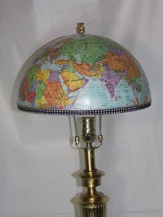 Vintage Blue World Globe Lampshade with Black & Rhinestone-esque Trim.  For Living Room, Library, Child or Student room, Travel theme