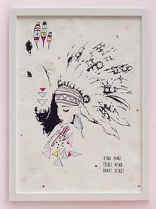 fine art print One Sonny Day. Australian kids and children's art. Feather headdress, colourful feathers. Perfect for wall art, little girls bedroom deco, children kids gifts, christening, baby shower, christmas present. Water colour, painting, quote