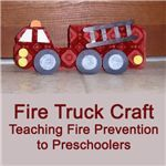 Fire truck from an egg carton
