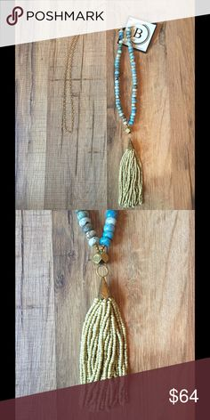 "KATIE BETH NECKLACE BETSY PITTARD DESIGNS  Beads: Blue Grass Turquoise with Matte Beige Tassel  Length: 36"" + Tassel  Tassel: 4""  HANDMADE IN AUGUSTA GEORGIA Betsy Pittard Designs Jewelry Necklaces"
