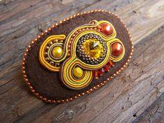 Soutache Jewelry decorated with Orange Brown by PanitaJewellery, $25.00