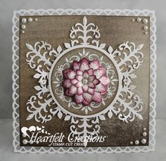 Heartfelt Creations | Snowflake and Poinsettia. Die cut 6 decorative stems from the Ornamental Add On Die set, arrange on card as pictured