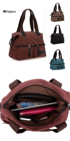 $22.27 Ekphero Canvas Multi-Pocket Portable Handbags