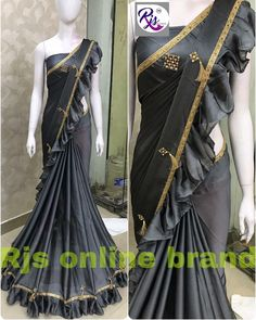 2150 prc only free ship only* * pure coating Georgette saree with beutiful frills 👌🏻👌🏻👌🏻* *unstiched Running blouse * Drape Sarees, Georgette Sarees, Silk Sarees, Saree Designs Party Wear, Saree Blouse Designs, Saree Gown, Lehenga, New Fashion Saree, Indian Outfits