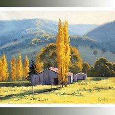 Poplar autumn Trees landscape fine art by Graham Gercken Farm Shed, Farm Barn, Farm Paintings, Unique Paintings, Tree Paintings, Lake Painting, Autumn Painting, Australian Farm, Australian Artists