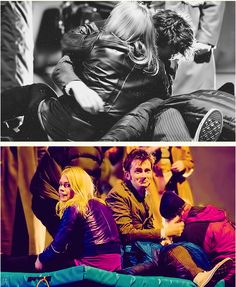 -David Tennant and Billie Piper being adorable on set