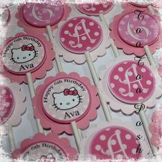 SET OF 12 PERSONALIZED Hello Kitty Cupcake Toppers by TooTooPosh 1st Birthday Parties, Girl Birthday, Cat Party, Party Fun, Hello Kitty Baby Shower, Hello Kitty Cupcakes, Best Part Of Me, Cupcake Toppers, My Little Pony