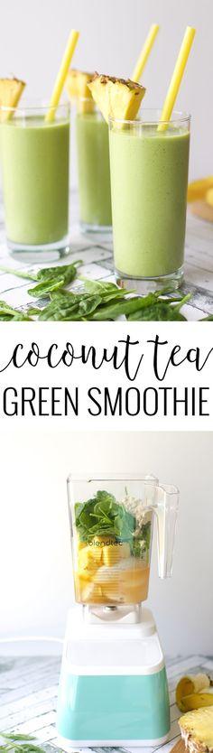 Coconut Tea Green Smoothie with Takeya - Food - Smoothie Recipes Easy Healthy Smoothie Recipes, Homemade Smoothies, Breakfast Smoothie Recipes, Healthy Green Smoothies, Green Smoothie Recipes, Yummy Smoothies, Juice Smoothie, Smoothie Drinks, Healthy Drinks