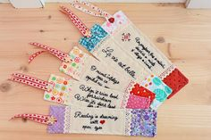Unique personalized bookmark, patchwork quilted bookmark, reading gift, hand embroidered bookmark, teacher, sisters gift, fabric bookmark