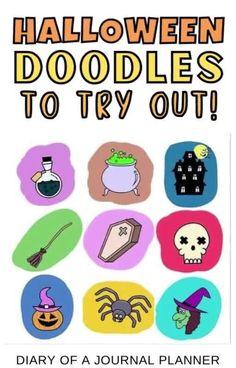 The easy Halloween-themed bullet journal doodles you need to try! #halloween #doodles Happy Doodles, Free Doodles, Easy Doodles Drawings, Cool Doodles, Easy Doodle Art, Simple Doodles, Doodle Pages, Doodle Art Journals, Easy Drawing Steps